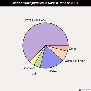 Druid Hills mode of transportation to work chart