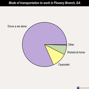 Flowery Branch mode of transportation to work chart