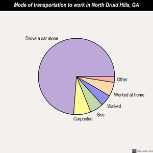 North Druid Hills mode of transportation to work chart