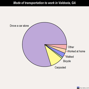 Valdosta mode of transportation to work chart