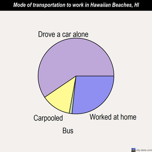 Hawaiian Beaches mode of transportation to work chart