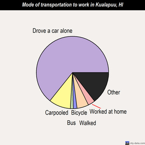 Kualapuu mode of transportation to work chart