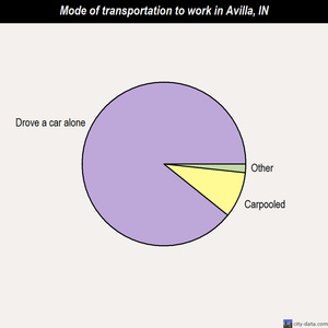 Avilla mode of transportation to work chart