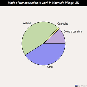 Mountain Village mode of transportation to work chart