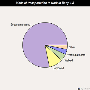 Many mode of transportation to work chart
