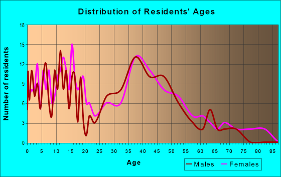 Age and Sex of Residents in Warrenville Downtown in Warrenville, IL