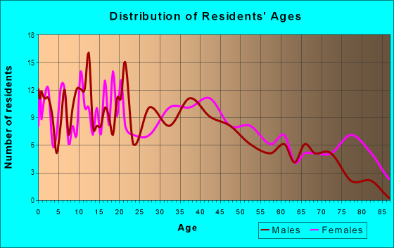 Age and Sex of Residents in Downtown Streator in Streator, IL