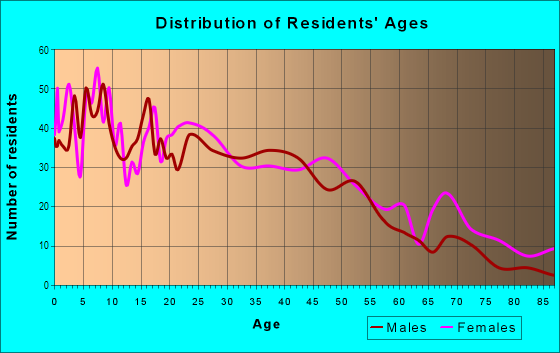Age and Sex of Residents in Downtown in Maywood, IL