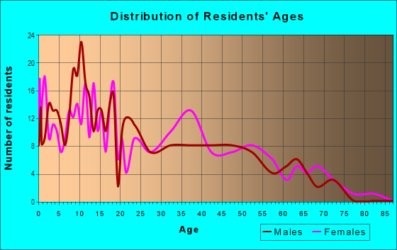 Age and Sex of Residents in Greater McMillen Park in Fort Wayne, IN