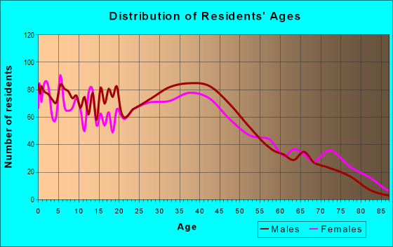 Age and Sex of Residents in West Indianapolis in Indianapolis, IN
