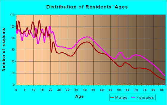 Age and Sex of Residents in Northeast in Kansas City, KS