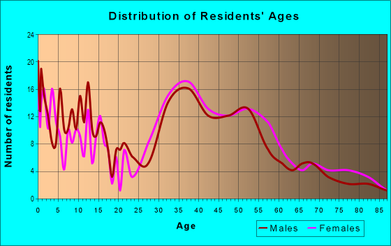 Age and Sex of Residents in Indian Spring Village in Silver Spring, MD