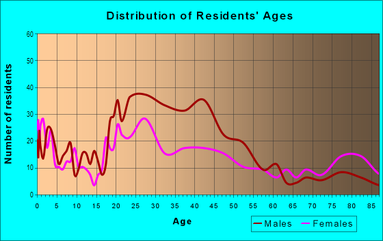 Age and Sex of Residents in Downtown in Mesa, AZ