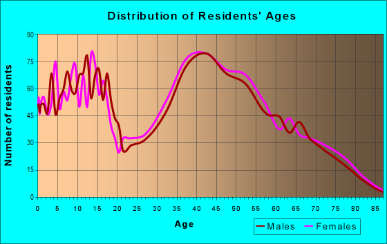 Age and Sex of Residents in Union Center in Endicott, NY