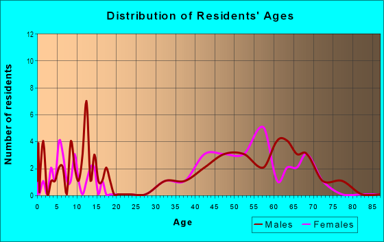 Age and Sex of Residents in Pirates Beach in Galveston, TX