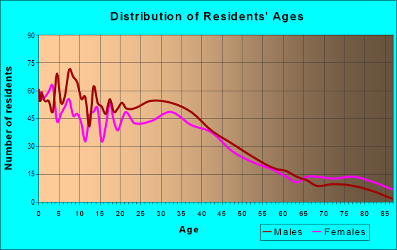 Age and Sex of Residents in Northeast Connection in Grand Prairie, TX
