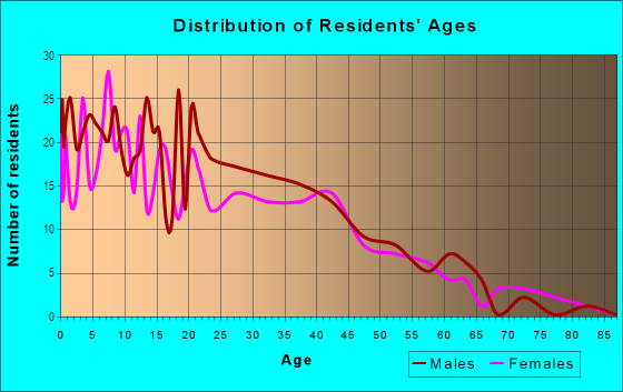 Age and Sex of Residents in Polytechnic in Fort Worth, TX