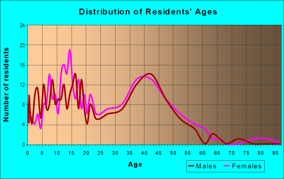 Age and Sex of Residents in Town Centre Village in Mesquite, TX