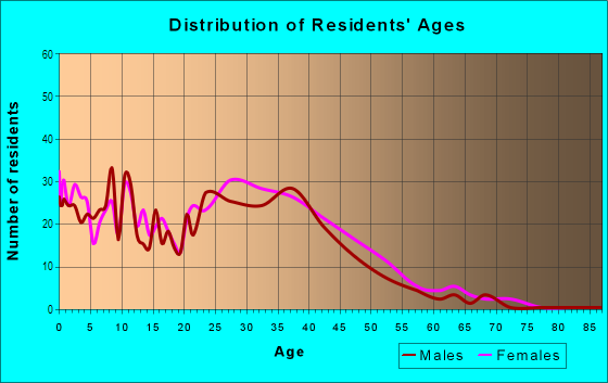 Age and Sex of Residents in Lee's Mill in Newport News, VA