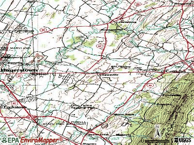 Chewsville topographic map