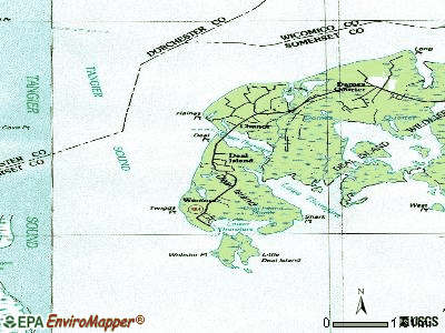 Deal Island topographic map