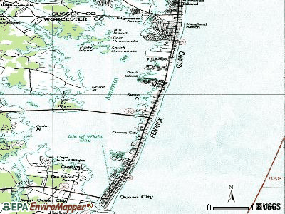 Ocean City topographic map