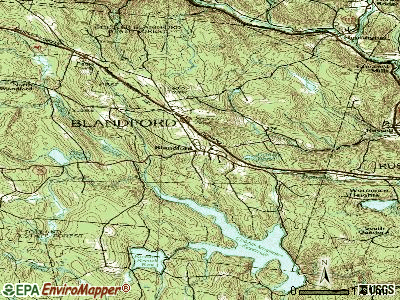Blandford topographic map