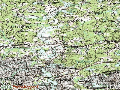 Wayland topographic map