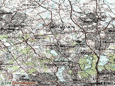 Woburn topographic map