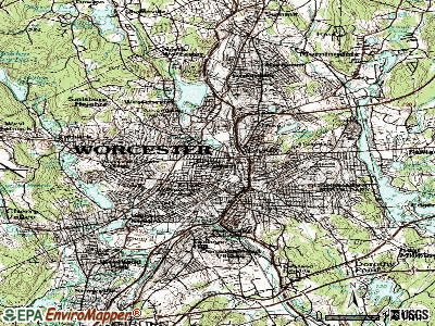 Worcester topographic map