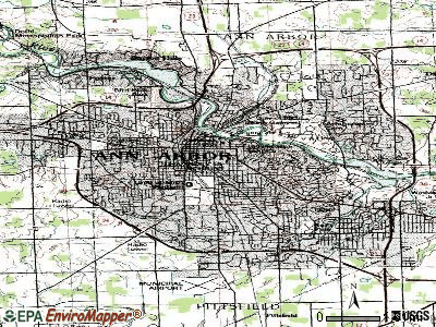 Ann Arbor topographic map