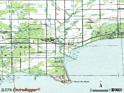 Au Gres topographic map