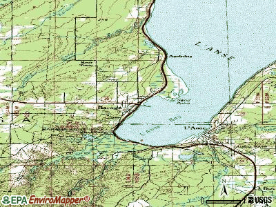 Baraga topographic map