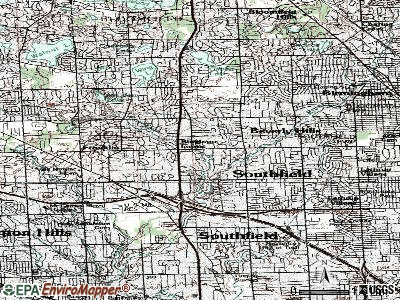 Bingham Farms topographic map