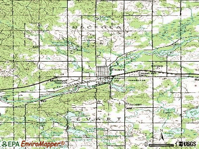 Evart topographic map