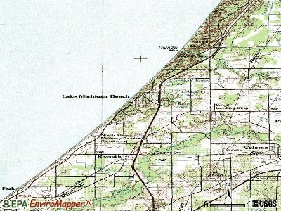 Lake Michigan Beach topographic map