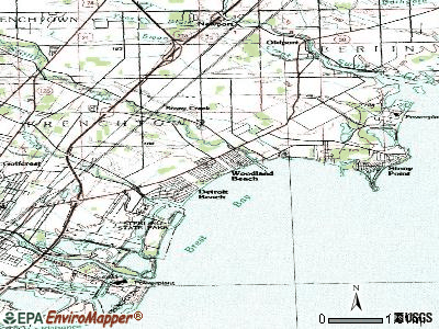 Woodland Beach topographic map