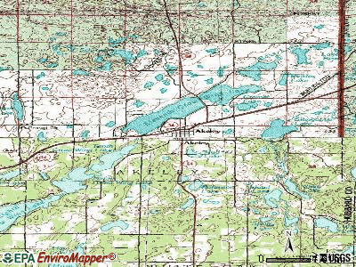 Akeley topographic map