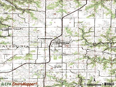 Caledonia topographic map