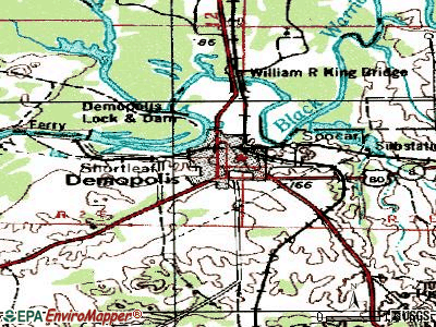 Demopolis topographic map