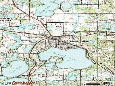 Detroit Lakes topographic map
