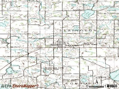 Le Center topographic map