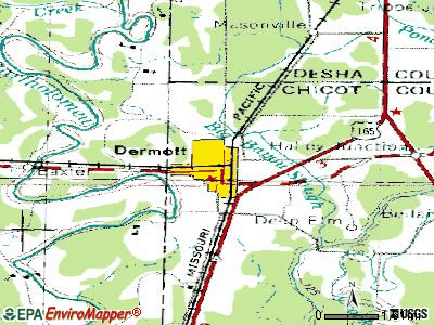Dermott topographic map