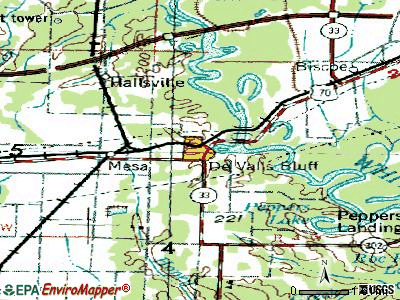 De Valls Bluff topographic map