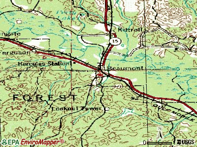 Beaumont topographic map