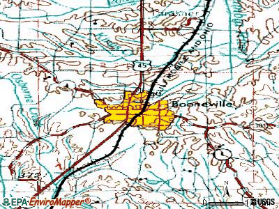 Booneville topographic map