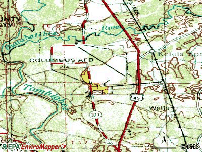 Columbus AFB topographic map