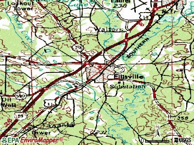 Ellisville topographic map