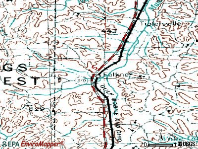 Falkner topographic map