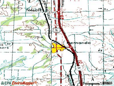 Hernando topographic map